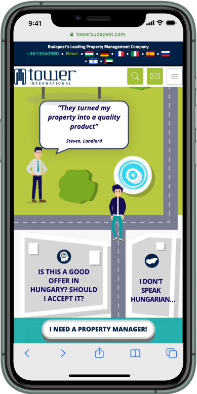 Interactive map walking man on iphone showing questions regarding self property management