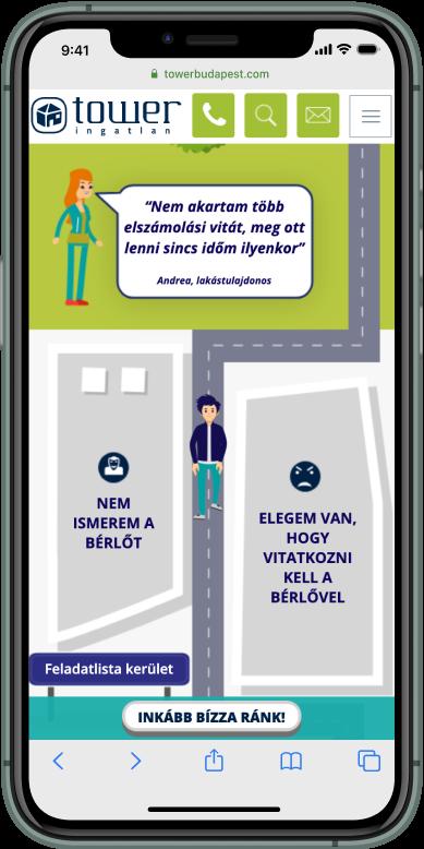 Interaktív térképen sétáló ember iphone kijelzőn felmerülő kérdéseket és helyes utat mutat ingatlankezelésről